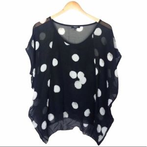 ARITZIA Leif Silk Blouse Polka Dot Black White XS